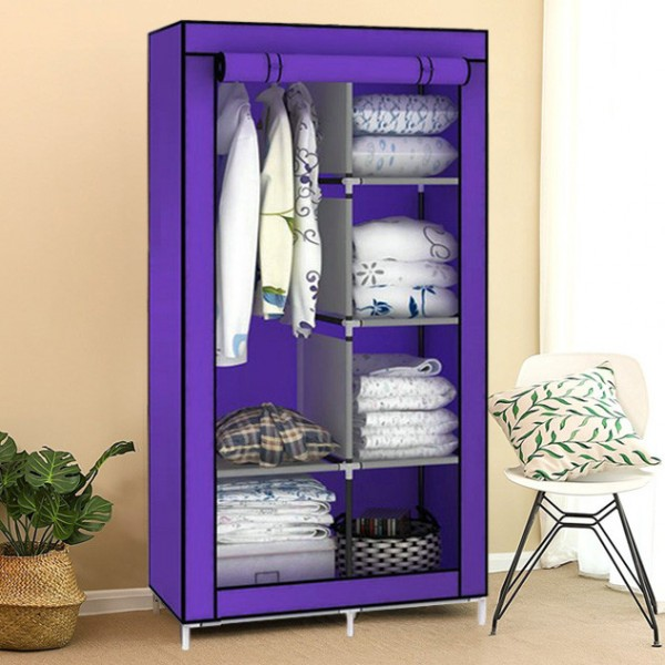 Шкаф тканевый органайзер «8890 purple», 2 секции