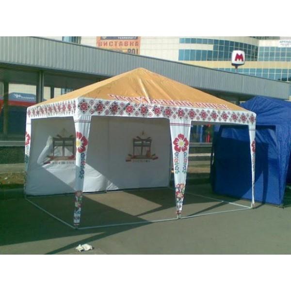 """Шатер """"Хата"""" (брендированные шатры под заказ). Цена за м² печати."""