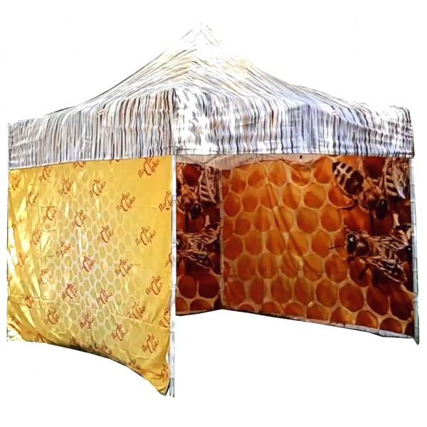 """Шатер раздвижной  """"Пчеловод"""" 3х3 УКРАИНА с принтом для продажи продукции пчеловодства. Цена с принтом по одной стене"""