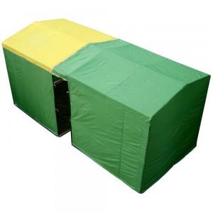 Из двух одинаковых палаток 2м x 2м легко создать полностью укрываемую территорию 4м x 2м
