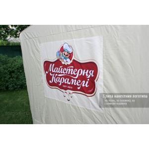 Полноцветная печать на шатрах и торговых палатках. Цена за м² печати.